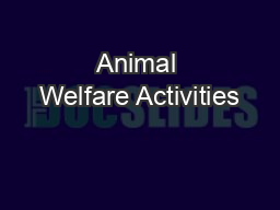 Animal Welfare Activities