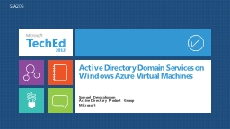 Active Directory Domain Services on Windows Azure Virtual Machines PowerPoint PPT Presentation