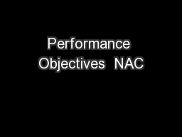 Performance Objectives  NAC