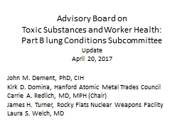 Advisory Board on  Toxic Substances and Worker
