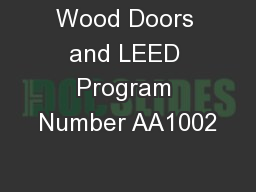 Wood Doors and LEED Program Number AA1002