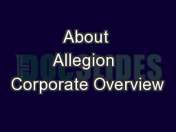 About Allegion  Corporate Overview