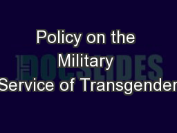 Policy on the Military Service of Transgender