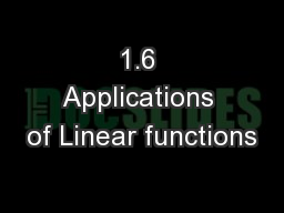1.6 Applications of Linear functions