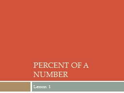 Percent of a number Lesson 1