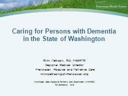 Caring for Persons with Dementia in the State of Washington