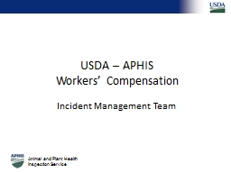 USDA – APHIS Workers' Compensation