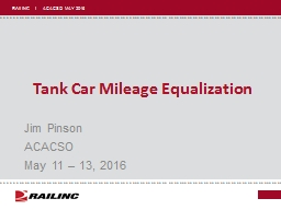 Tank Car Mileage Equalization