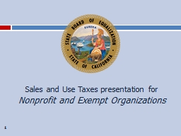1 Sales and Use Taxes presentation for
