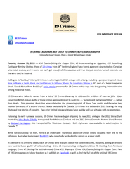 FOR IMMEDIATE RELEASE  CRIMES CAN DIANS NOT LIKELY TO