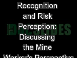 Hazard Recognition and Risk Perception: Discussing the Mine Worker's Perspective