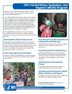 CSA Inadequate water sanitation and hygiene WASH conditions exist in a range of settings from temporary refugee camps to permanent homes in large cities