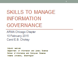 Skills to Manage Information Governance