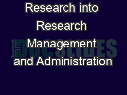 Research into Research Management and Administration