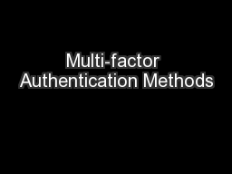 Multi-factor Authentication Methods