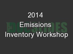 2014 Emissions Inventory Workshop