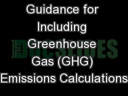 District  Guidance for Including Greenhouse Gas (GHG) Emissions Calculations