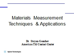 Materials  Measurement Techniques & Applications