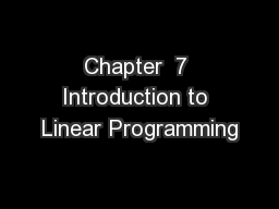 Chapter  7 Introduction to Linear Programming