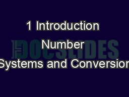 1 Introduction Number Systems and Conversion