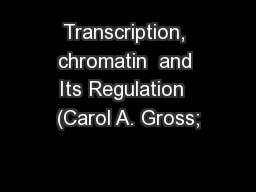 Transcription, chromatin  and Its Regulation  (Carol A. Gross;