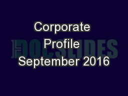 Corporate Profile September 2016