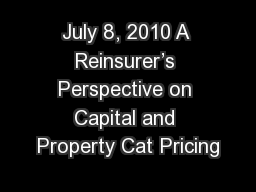 July 8, 2010 A Reinsurer's Perspective on Capital and Property Cat Pricing