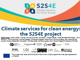 Climate services for clean energy: the S2S4E project