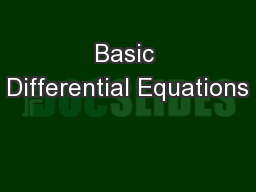 Basic Differential Equations