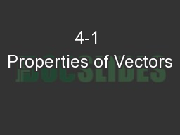 4-1 Properties of Vectors