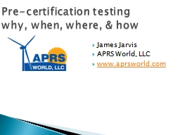 Pre-certification testing