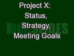 Project X:  Status, Strategy, Meeting Goals
