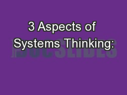 3 Aspects of Systems Thinking: