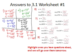 Answers to 3.1 Worksheet #1 PowerPoint PPT Presentation
