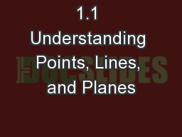 1.1 Understanding Points, Lines, and Planes