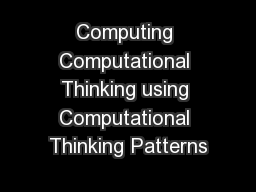 Computing Computational Thinking using Computational Thinking Patterns