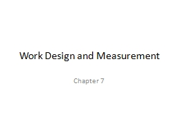 Work Design and Measurement