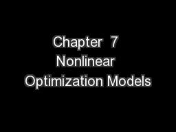 Chapter  7 Nonlinear Optimization Models