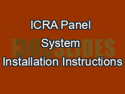 ICRA Panel System Installation Instructions