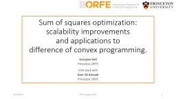 Sum of squares optimization: