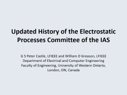 Updated History of the Electrostatic Processes Committee of the IAS