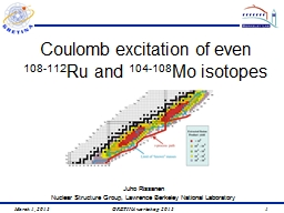 Coulomb excitation of even PowerPoint PPT Presentation