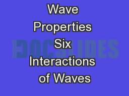 Wave Properties Six Interactions of Waves