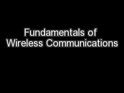 Fundamentals of Wireless Communications