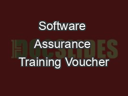 Software Assurance Training Voucher PowerPoint PPT Presentation
