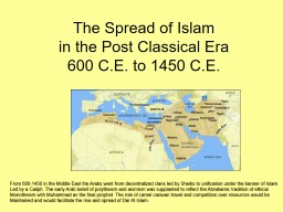 The Spread of Islam in the Post Classical Era