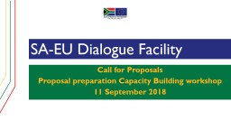 SA-EU Dialogue Facility Call for Proposals
