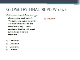 GEOMETRY FINAL REVIEW-ch.2 PowerPoint PPT Presentation