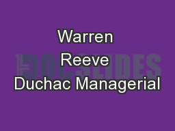 Warren Reeve Duchac Managerial