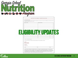 Eligibility updates Direct Certification